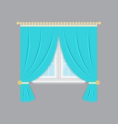 Drapery window isolated object vector