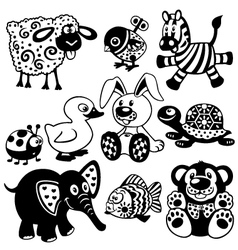 Set of black white pictures for kids vector