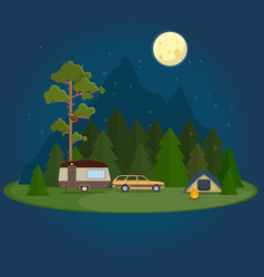 Camping night scene with caravan tent and campfire vector