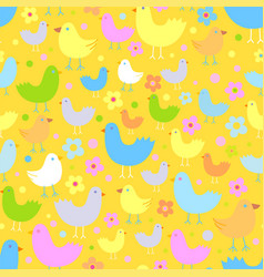 Seamless pattern with cute funny cartoon birds vector