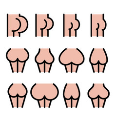 Different bum sizes icons - large flat big smal vector