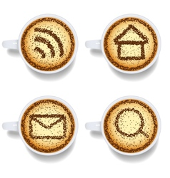 Cappuccino with web icons vector