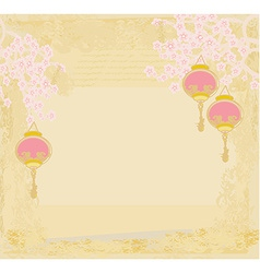 Chinese New Year with lanterns card vector image