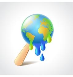 Earth like melting ice cream vector