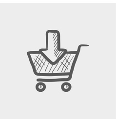 Online shopping cart sketch icon vector