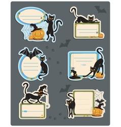 6 cat halloween labels vector