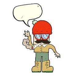 Cartoon man smoking pot with speech bubble vector