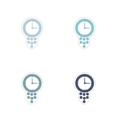 Set of paper stickers on white background time is vector image