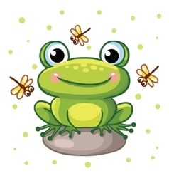 Frog on a rock vector