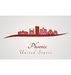 Phoenix skyline in red vector