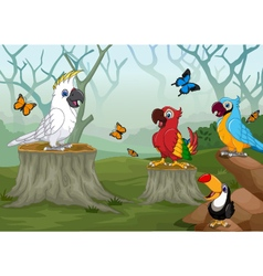 Funny bird with deep forest landscape background vector