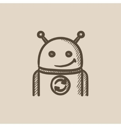 Robot with refresh sign sketch icon vector