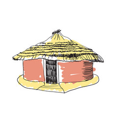 African tribal hut hand drawn icon vector