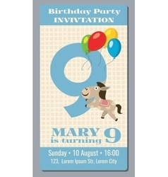 Birthday party invitation card with cute horse vector image