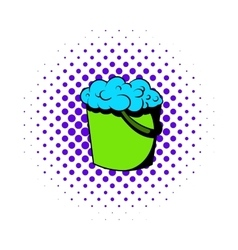 Bucket with foamy water icon comics style vector