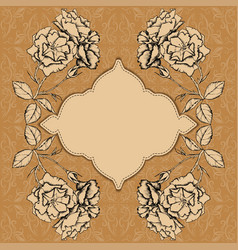 card with frame and flowers vector image
