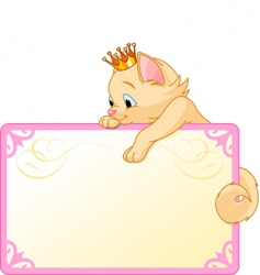Cat princess invite or placard vector