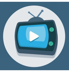 circle flat icon tv vector image