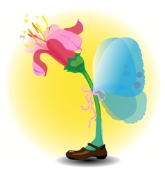 Fairy flower with wings and one boot vector image vector image
