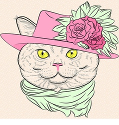 Funny british cat lady vector