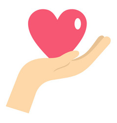 Hand holding a pink heart icon isolated vector