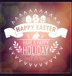 Happy easter typography greeting card vector