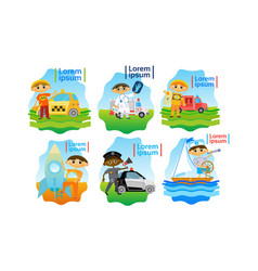 Kids trying different professions set small boys vector