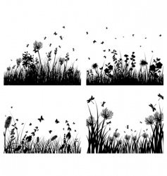 meadow silhouettes vector image