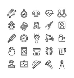 measurement signs black thin line icon set vector image vector image