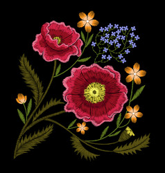 Peony embroidery vector