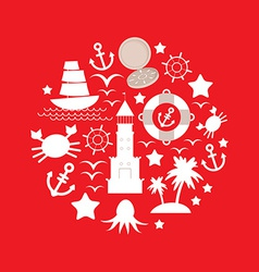 Set sea icon on red background vector image