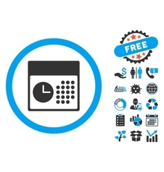 Time and Date Flat Icon with Bonus vector image vector image