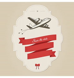 Vintage wedding invitation with retro aircraft vector