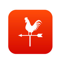 Weather vane with cock icon digital red vector