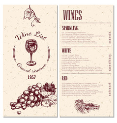 wine menu design vector image vector image