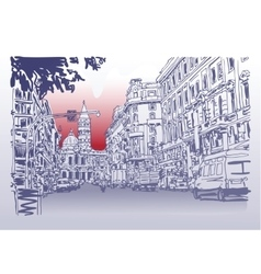 Urban architectural sketch drawing of italy road vector