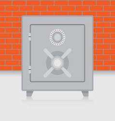 Metal safe on brick wall background vector
