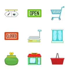 Purchase in shop icons set cartoon style vector