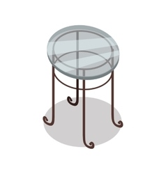 Round glass table in isometric projection vector