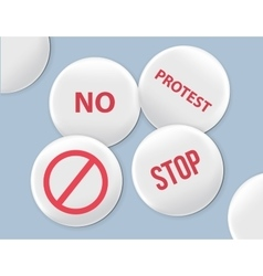 Blank white badges protest signs vector