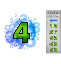 Abstract numbers blue with green vector