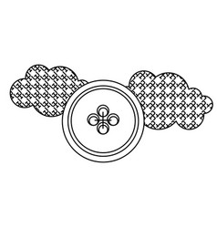 Grayscale figures clouds and sun icon vector