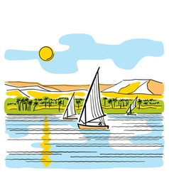 River nile in egypt vector