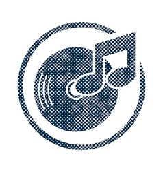 Vinyl icon with halftone dots print texture vector