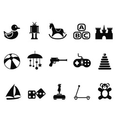 Black toy icons set vector