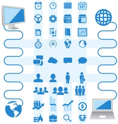 Package of icons business and computer vector