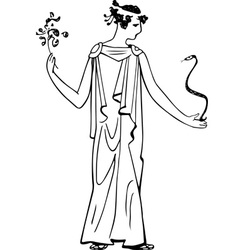 ancient woman with snake and flower vector image