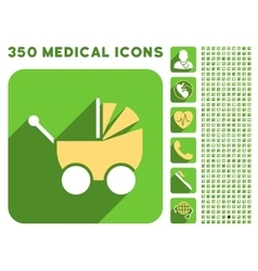 Pram icon and medical longshadow icon set vector