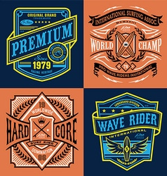 Vintage surfing t-shirt graphic set vector image