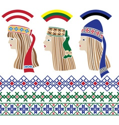 Baltic set of stencil baltic girls vector